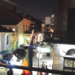 Essential NOLA: Looking out from the balcony of Cafe Lafitte in Exile over the Quarter on Saturday night.